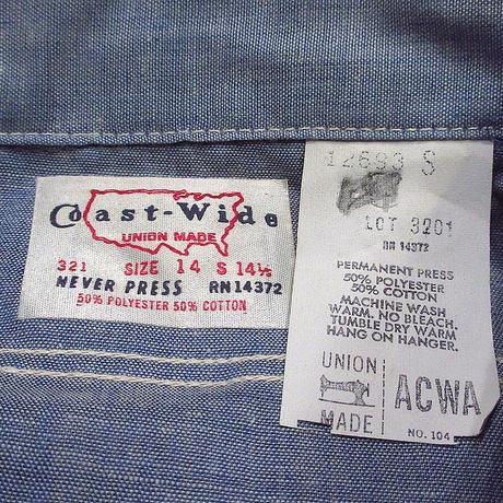 ビンテージ70's●DEADSTOCK Coast Wideシャンブレー半袖ワークシャツsize S●210603n1-m-sssh-wkメンズ古着トップスUSA