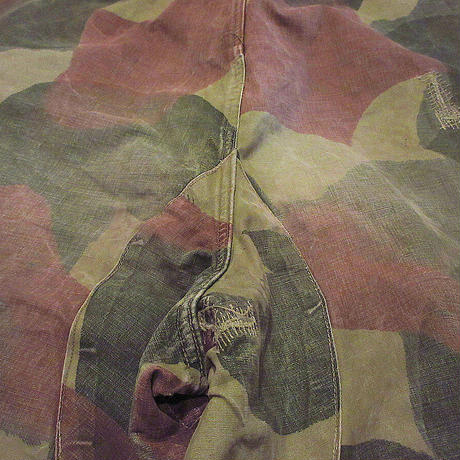 ビンテージ50's●ベルギー軍サスペンダーボタン付きブラッシュカモトラウザーズsize 4●210501s8-m-pnt-mlt-wfミリタリー迷彩ボトムス