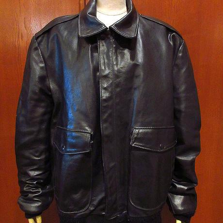 ビンテージ70's80's●Sears The Leather Shop A-2タイプジャケット黒size 44●210329f2-m-jk-lt古着革ジャンボンバージャケットシアーズ