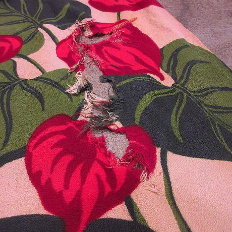 ビンテージ40's●花柄バーククロスカーテン2点セット●210504s2-fbrフラワーパターンリーフ柄雑貨ファブリック生地布インテリアUSA