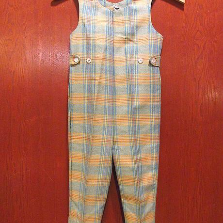ビンテージ70's●DonmoorキッズチェックオーバーオールT4●210505s6-k-oval 1970s子供服オールインワンレトロつなぎ