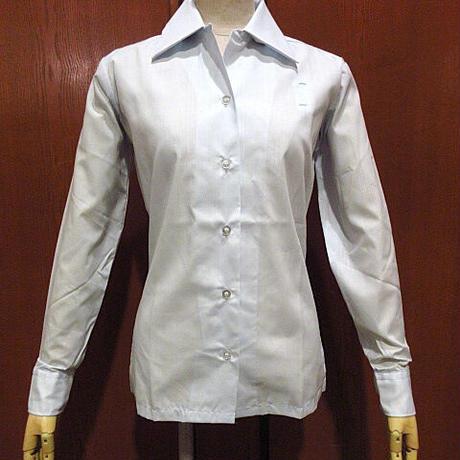 ビンテージ70's●DEADSTOCK Conquerorレディースループカラーサービスシャツ水色size 29 LS●210116f3-w-lssh古着オープンカラーシャツ