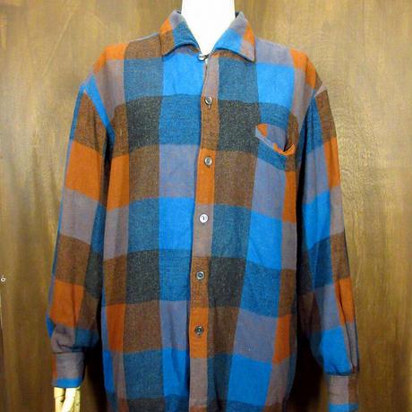 ビンテージ50's60's●Kingsmen チェックループカラーシャツ L●210505n1-m-lssh-lp 長袖トップスメンズボックスシャツ古着