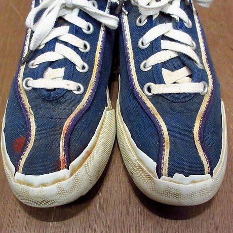 ビンテージ70's●レディースレトロキャンバススニーカー紺 約24cm●210407n6-w-snk-24cm ライン入りオールドシューズ古靴古着