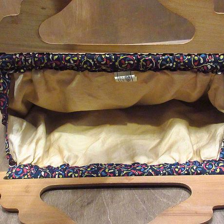 ビンテージ40's●ウッドハンドル総柄レーヨンハンドバッグ●210323n6-bag-hnd 1940s木製フレームレディース鞄