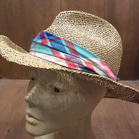 ビンテージ70's●Dorfman PacificチェックリボンストローハットM●210606n5-m-ht-str 1970s麦わら帽子メンズ