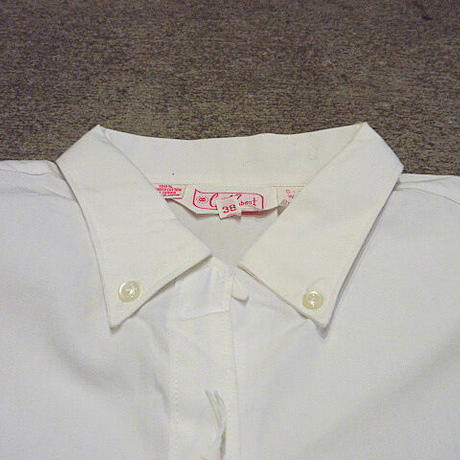 ビンテージ60's70's●DEADSTOCK MONTGOMERY WARDコットンボタンダウンループカラーシャツ白size 38●210208s3-w-lsshレディース
