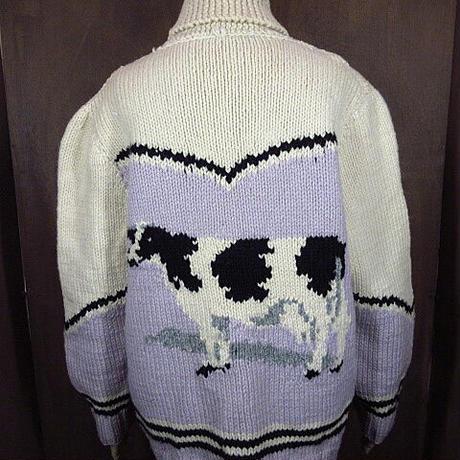 ビンテージ60's●牛カウチンセーター●201101n3-m-cow 1960sメンズニットカーディガンウール