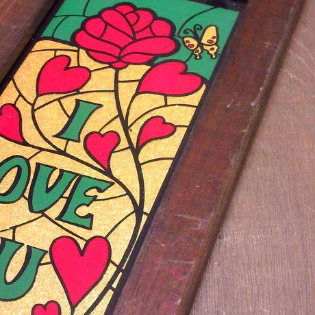 """ビンテージ60's70's●""""I LOVE YOU"""" 壁掛けステンドグラス風サイン●210609n8-sign メッセージインテリア雑貨レトロ"""