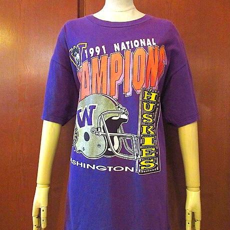 ビンテージ90's●1991年WASHINGTON HUSKIES大判プリントTシャツ紫size XL●200831s4-m-tsh-ot古着フットボールワシントンハスキーUSA