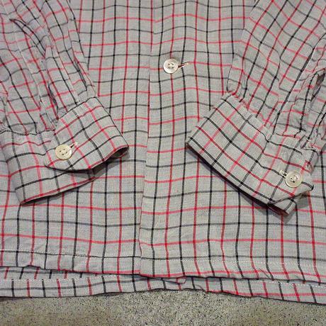 ビンテージ50's●SHELDON チェックレーヨンループカラーシャツ S●210430s2-m-lssh-lp ボックスシャツ長袖トップス古着