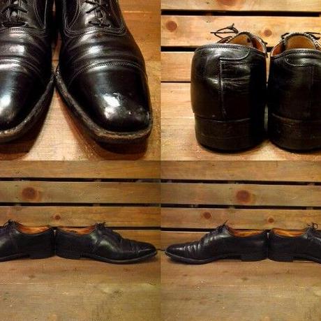 ビンテージ50's60's●FLORSHEIMストレートチップシューズ黒 11 1/2A●210224s13-m-dshs-295cm 1950s1960sフローシャイムキャップトゥ革靴