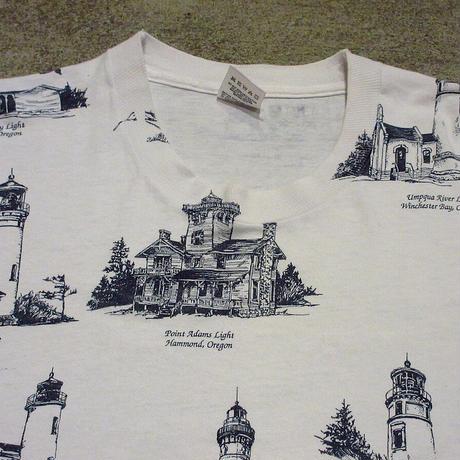 ビンテージ90's●オレゴン灯台総柄プリントTシャツ XL●210430s1-m-tsh-ot USA製米国製 FRUIT OF THE LOOM半袖古着