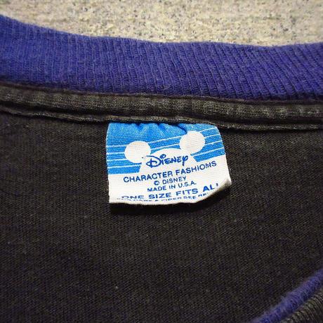 ビンテージ80's●MICKEY ネオンカラープリントTシャツ黒●210611s1-m-tsh-ot ミッキーディズニーオフィシャル半袖古着