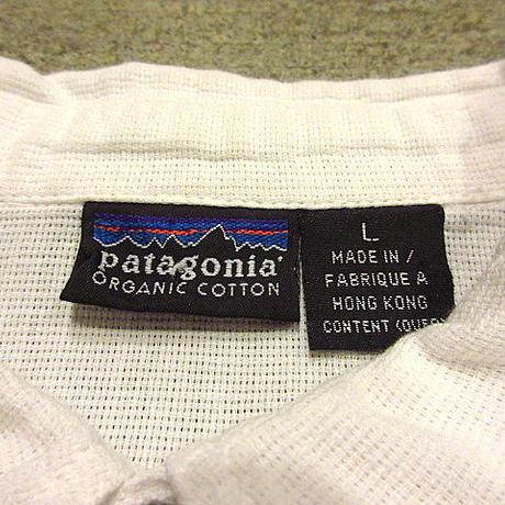 ビンテージ90's●Patagoniaオーガニックコットンポロシャツ白sizeL●200619f4-m-plsh古着パタゴニア半袖シャツプルオーバーUSA
