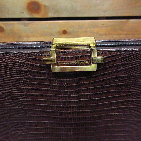 ビンテージ60's70's●リザードスキンハンドバッグ茶●201225n8-bag-hnd 1950s1960sトカゲ革レディースレザー鞄女性用かばんUSA