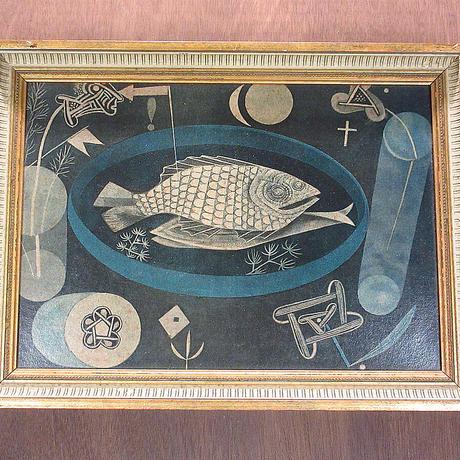 """ビンテージ●""""AROUND THE FISH"""" BY PAUL KLEEアート壁掛け●210502n8-sign シュールレアリスム絵画レプリカパウル・クレー"""
