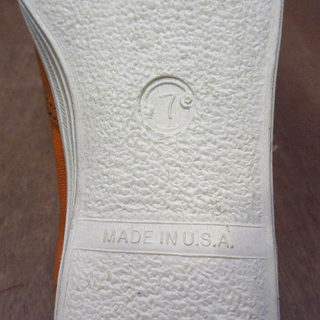 ビンテージ70's●DEADSTOCK Kratonレディースキャンバススニーカー橙7●210413n7-w-snk-235cm 1970sデッドストックオレンジ