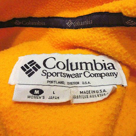 ビンテージ90's●Columbiaジップアップフリースベスト黄size W-L●210608s4-w-vs古着レディースアウトドアコロンビアUSA製トップス