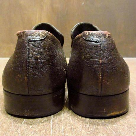 ビンテージ60's70's●レザーウイングチップローファー焦げ茶 約28cm●210508n4-m-lf-28cm 革靴レザーシューズメンズ