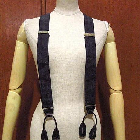 ビンテージ●ストライプボタン留めサスペンダー黒●210102f8-ssp古着雑貨ファッション小物USAブラック