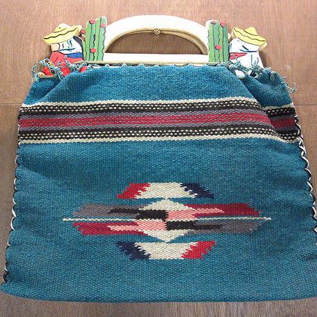 ビンテージ40's50's●ウッドハンドルメキシカンラグハンドバッグ●210323n7-bag-hnd 1940s1950sメキシコインディアンレディースバッグ