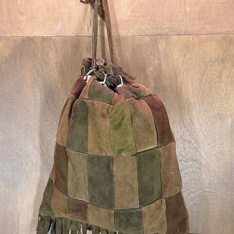 ビンテージ60's70's●パッチワークスウェード巾着バッグ●201029n5-bag-hnd 1960s1970sレトロヒッピー鞄