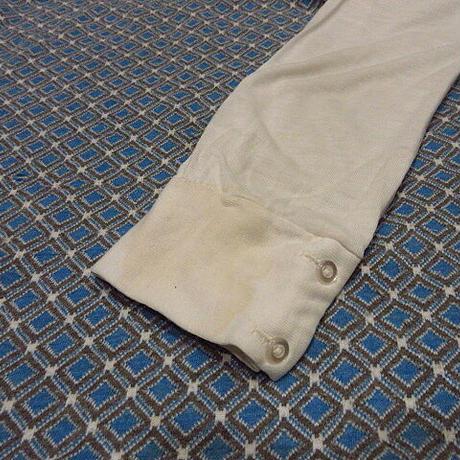 ビンテージ70's●レディースジャガード切り返しループカラーシャツ●210107f9-w-lssh古着ジャカード織りブラウスレトロオープンカラーシャツ