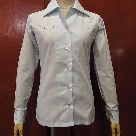 ビンテージ70's●DEADSTOCK Conquerorレディースループカラーサービスシャツ水色size 29 LS●201114f4-w-lssh古着オープンカラーシャツ