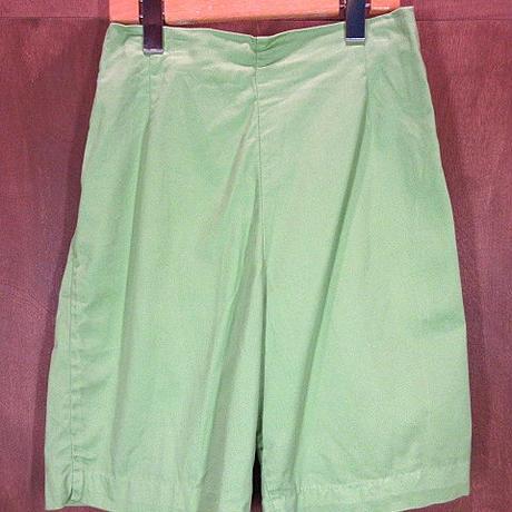 ビンテージ60's70's●レディースコットンショーツ黄緑●200609n4-w-sht-wf 1960s1970sショートパンツ無地グリーンレトロ