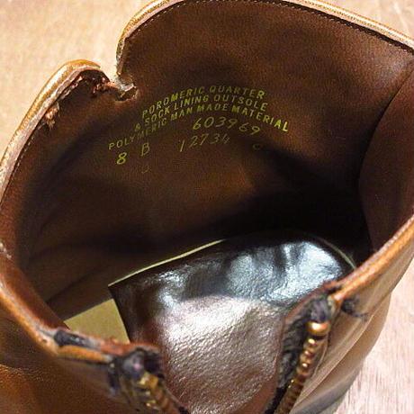 ビンテージ70's●サイドジップブーツ茶8B●201216n8-m-bt-26cm 1970sメンズレザーブラウンショートブーツスクエアトゥ