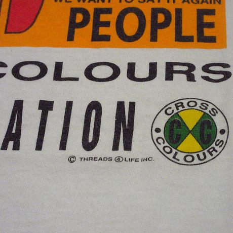 """ビンテージ90's●CROSS COLOURS """"UNIFICATION"""" Tシャツ●210611s2-m-tsh-ot クロスカラーズ黒人半袖古着"""