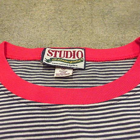 ビンテージ90's●STUDIOボーダーポケットTシャツsizeM●200606f3-m-tsh-str古着半袖シャツUSA製コットン