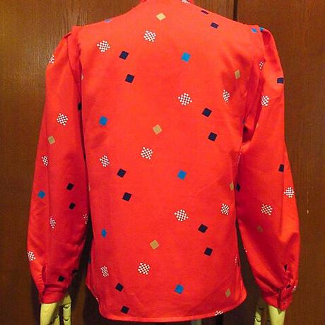 ビンテージ80's●Levi's Bend Overレディース総柄ノーカラー長袖シャツ赤size 8●210201s2-w-lsshリーバイス古着長袖シャツ幾何学模様