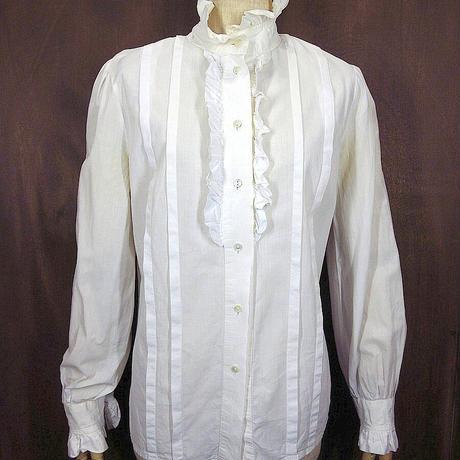 ビンテージ●laura ashleyレディースコットンフリルブラウス白size 12●210416n6-w-lssh古着ギャザープリーツUSAホワイト長袖シャツ