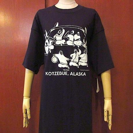 ビンテージ90's●DEADSTOCK KOTZEBUE, ALASKA THE FEASTプリントTシャツ黒size XL●200823s7-m-tsh-ot半袖アラスカコットン古着USA