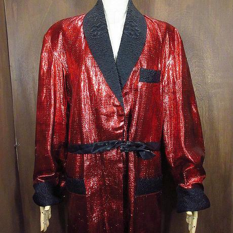 ビンテージ50's●Styles Tailorsスモーキングジャケット赤×黒●210401n8-m-jk-ot古着タキシードガウンショールカラーコートメンズ