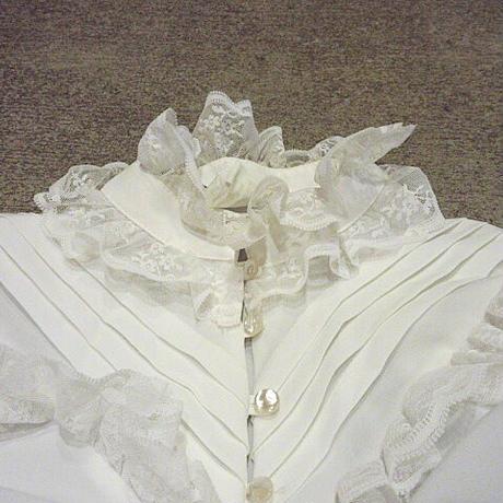 ビンテージ70's●Lee Marレディースレース付きスタンドカラーフリルブラウス白size 12●201214s7-w-lssh古着長袖ヒッピーポリエステル