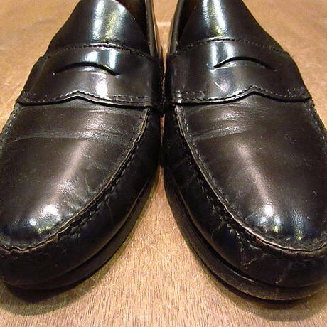 ビンテージ●G.H.BASS&CO.ペニーローファー黒9 1/2 B●201201n1-m-lf-27cm メンズ革靴レザーコインローファー