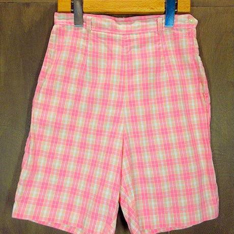 ビンテージ60's●レディースチェックショートパンツ ピンク Size 12●200620n5-w-sht-w24 コットンショーツハーフパンツ古着