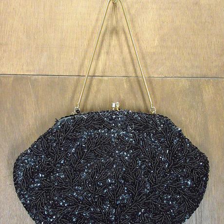 ビンテージ~60's●Walborgビーズイブニングバッグ黒●210323n3-bag-hnd 50s1950s1960sレディースハンドバッグ鞄パーティ