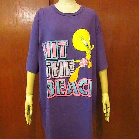 ビンテージ90's●トゥイーティープリントコットンTシャツ紫●200618f4-m-tsh-ot古着ルーニーテューンズキャラクターUSA半袖シャツ