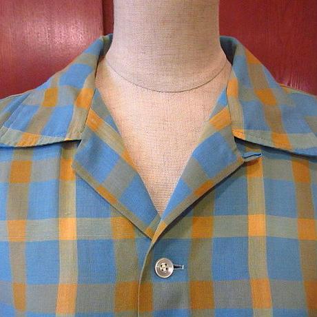 ビンテージ70's●Penneysループカラーチェック半袖シャツM●200812s6-m-sssh-lp 1970sボックスシャツ開襟オープンカラーレトロ