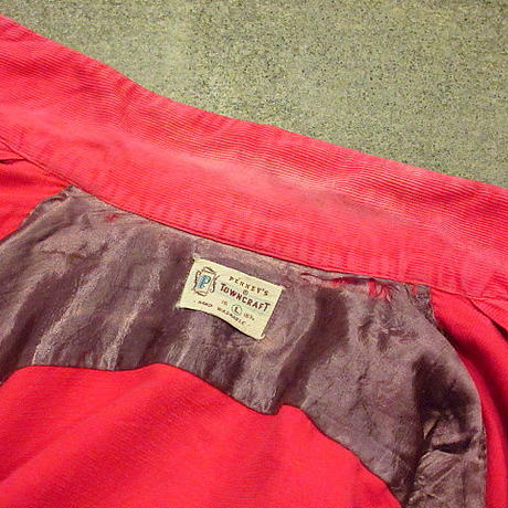 ビンテージ50's●PENNEY'Sコーデュロイ総柄半袖ループカラーシャツ赤 Size L● 200626s4-m-sssh-lp ペニーズタウンクラフト古着