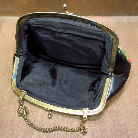 ビンテージ70's●レディース総柄ハンドバッグ黒●210403n8-bag-hnd カバンレトロポーチファッション小物