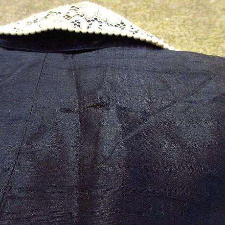 ビンテージ-30's●Page Boy DALLASレディースフラワーレース付きネップ織りプルオーバーブラウス紺size 10●210222s2-w-lsshアンティーク