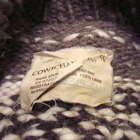 COWICHAN INDIAN魚柄カウチンセーター●210227s3-m-cowショールカラーウールニットハンドメイド古着ヘチマ襟カーディガン
