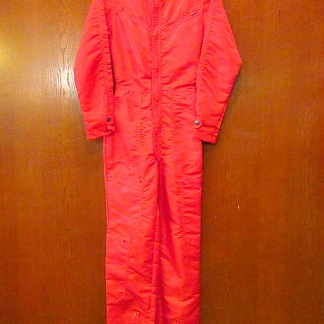 ビンテージ80's●NORTORIOUS レディースナイロンパラシュートオールインワン赤 Size XS●201001s5-w-all つなぎセットアップ古着