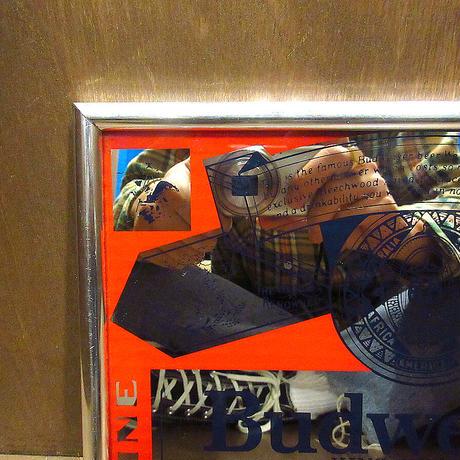 ビンテージ●Budweiserパブミラー●210429n3-signビールバーサイン壁掛け雑貨ディスプレイバドワイザーインテリア