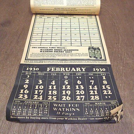 ビンテージ30's●A MODERN PRINCESS WATKINS 1930カレンダー●210611n8-otclct 1930s雑貨インテリアディスプレイワトキンス